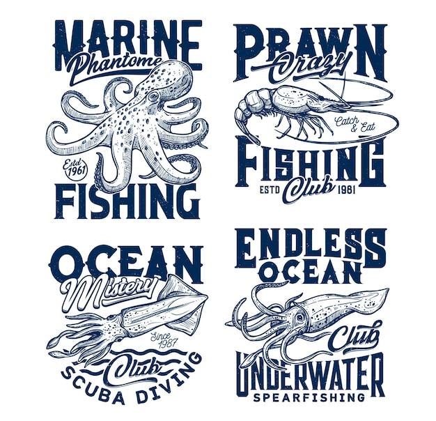 Подводные животные эскиз кальмаров, каракатиц, креветок, осьминогов.