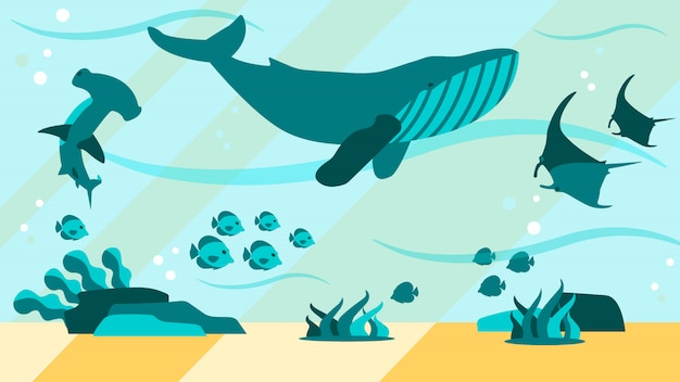 Underwater aquamarine life flat abstract