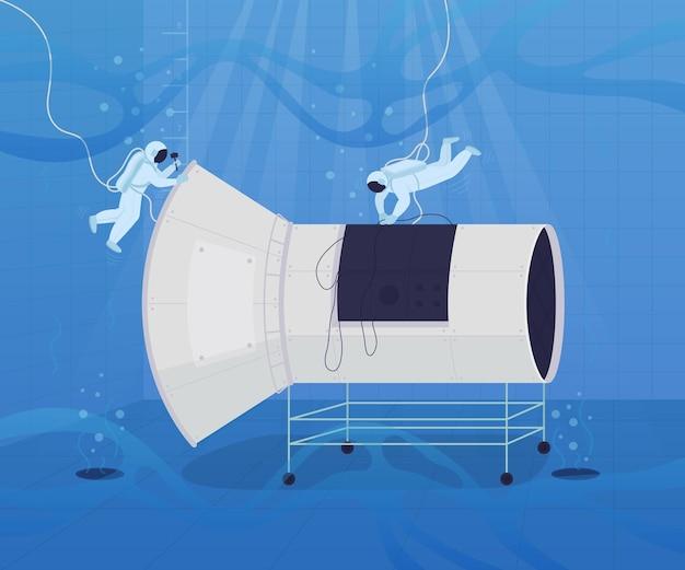 水中宇宙飛行士トレーニングフラットカラーイラスト