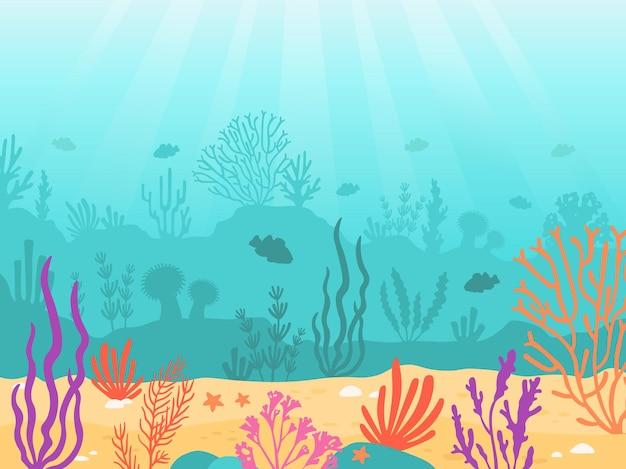 수중 배경입니다. 산호초, 모래, 해초, 물고기가 있는 만화 바다. 해저 장면, 깊은 해저 해양 벡터 풍경. 식물이 있는 아름다운 아쿠아 야생동물 환경
