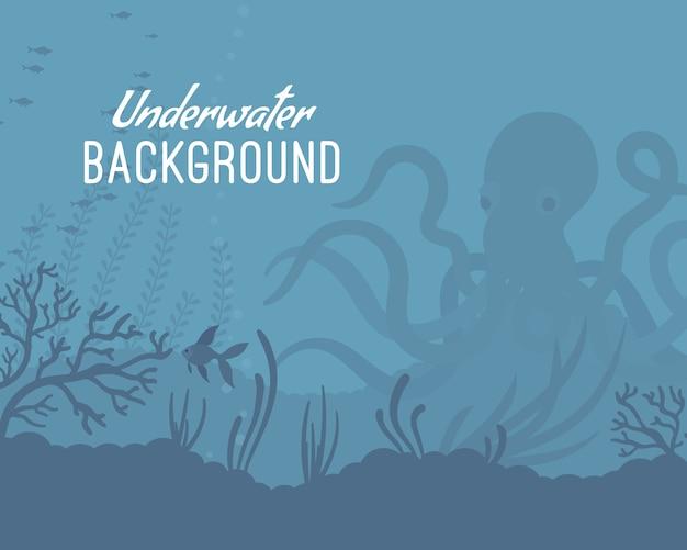 Underwater background template with kraken