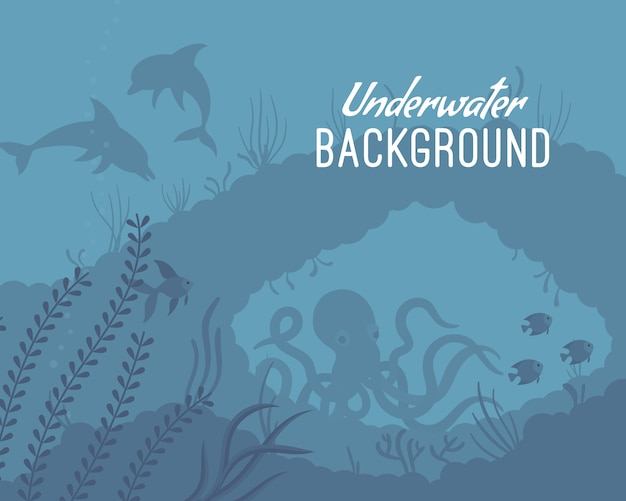 Underwater background template with reef