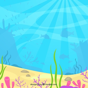 Underwater background with aquatic animals