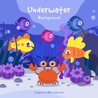Подводный фон с карикатурами на водных животных