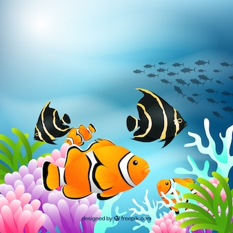 Underwater background with colorful fishes in realistic style