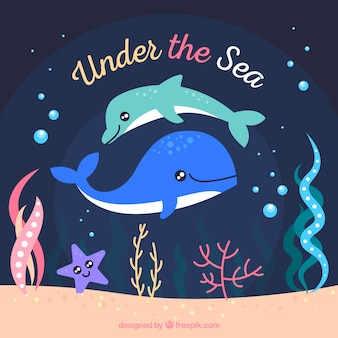 Underwater background with cute dolphins