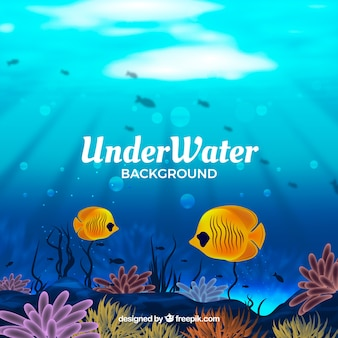 Underwater background with fishes in realistic style