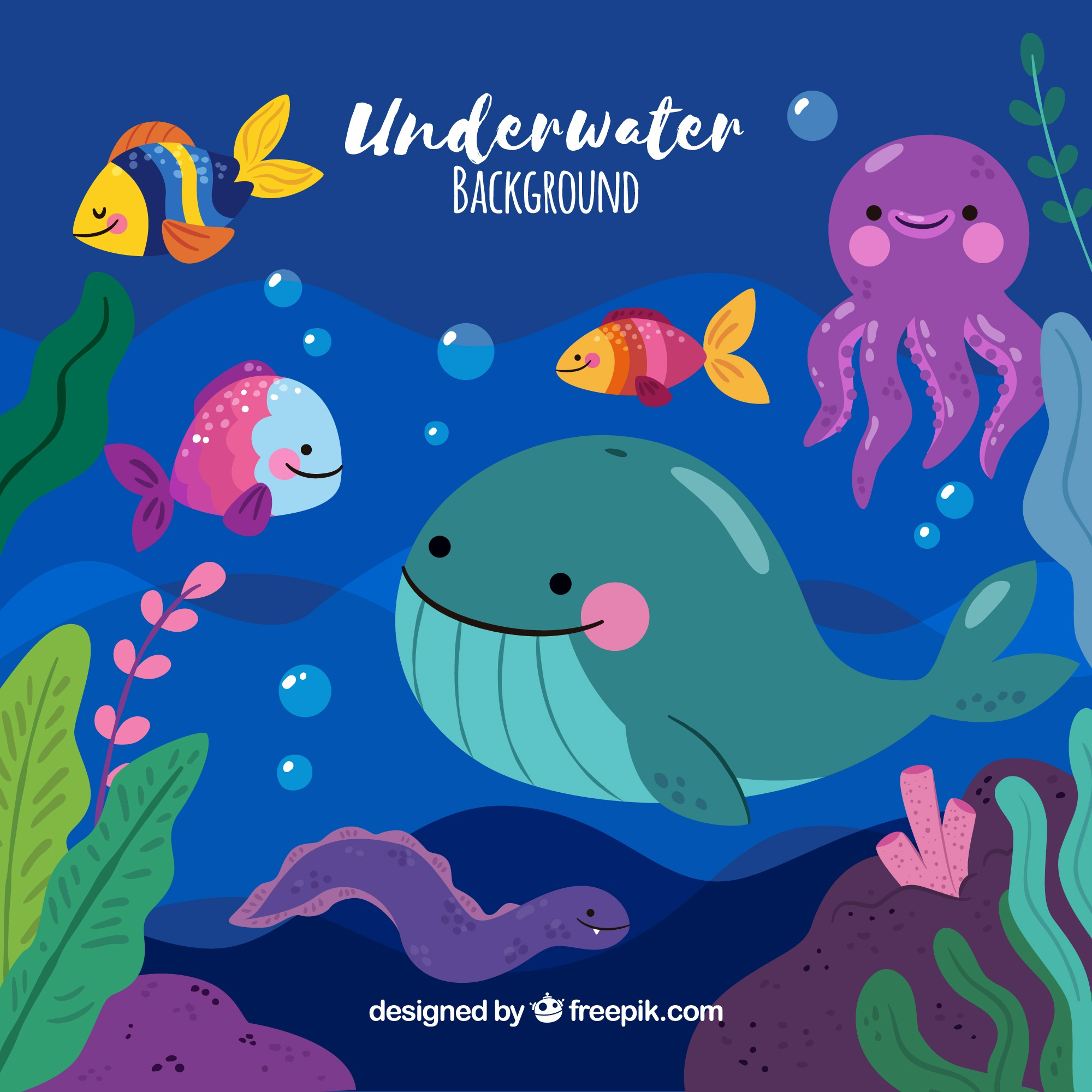 Underwater background with marine animals