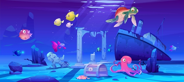 Underwater background with ocean fish, sunken ship and ruins.