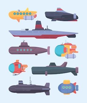 수중 보트. 잠수함 다이빙 바다 탐사 벡터 만화 삽화 세트. 수중 잠수하는 군사 및 연구 선박