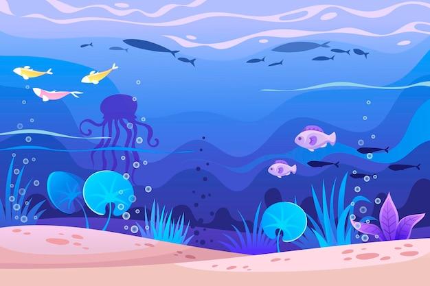 Подводный мультяшный пейзаж