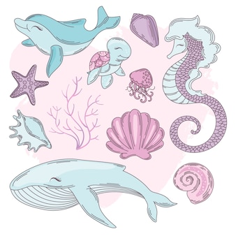 Underwater cartoon travel tropical vector illustration set