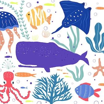 수중 생물 물고기, 해파리, 문어, 흰동가리, 바다 식물 및 산호, 직물, 직물, 벽지, 보육 장식, 지문, 유치한 배경을 위한 해양 동물로 설정됩니다. 벡터