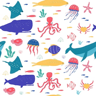 Underwater creatures fish, jellyfish, octopus, clownfish, seaplants and corals, set with marine animals for fabric, textile, wallpaper, nursery decor, prints, childish seamless pattern . vector