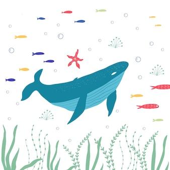 수중 생물 물고기, 상어, 바다 식물 및 산호, 직물, 직물, 벽지, 보육 장식, 지문, 유치한 배경을 위한 해양 동물로 설정됩니다. 벡터