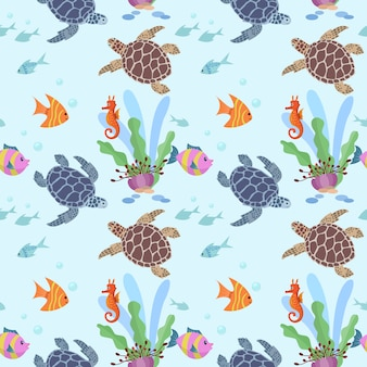 Underwater cute turtle and fish seamless pattern.