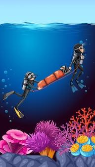 수중 다이빙 반복 바다 배경