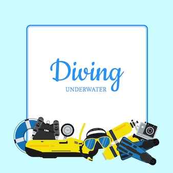 Underwater diving elements pile below frame with place for text