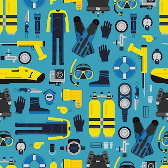 Underwater diving equipment pattern or in flat style