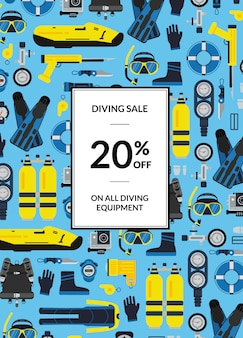 Underwater diving equipment sale poster with place for text