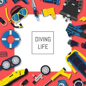 白い正方形とテキストのための場所で水中ダイビング用品。水泳、足ひれ、シュノーケリング、酸素、ウェットスーツ用のスポーツダイビング用品