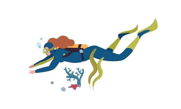 수중 다이빙 평면 그림