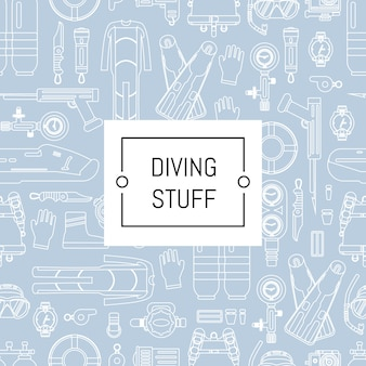 Underwater diving linear style with place for text. underwater sport diving pattern banner
