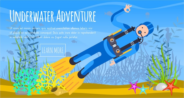 Underwater diving sport banner template. water diving activity scuba dive equipment.