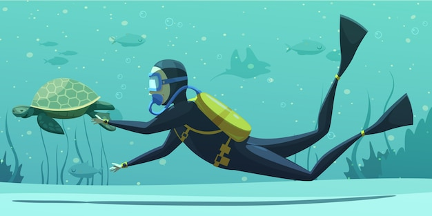 Underwater diving sport cartoon