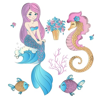 Underwater easter mermaid holiday vector illustration set