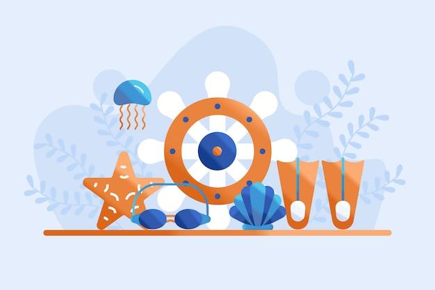 Underwater element illustration