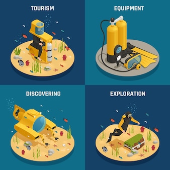 Underwater equipment 4 isometric icons