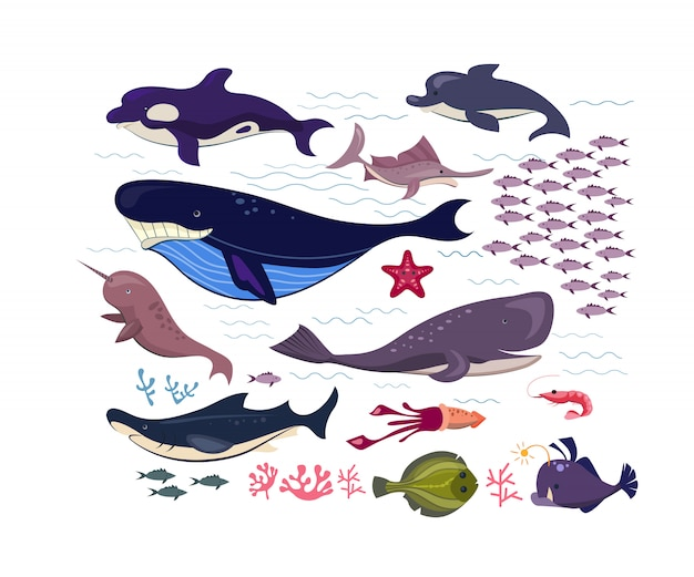 Underwater fish and animals flat icon set
