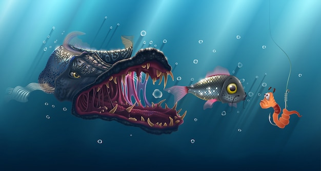 Underwater fish and a worm on a hook against a blue sea background