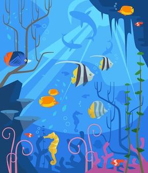 Подводный плоский мультфильм иллюстрации