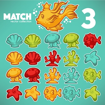 Underwater game, match 3, vector cartoon elements