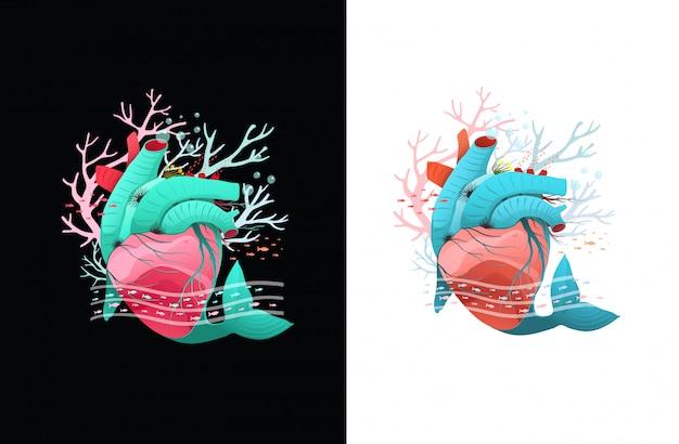 심장 모양의 수중 건강한 산호초와 물고기 디자인. 흰색과 검은 색에 고립 된 클립 아트입니다.