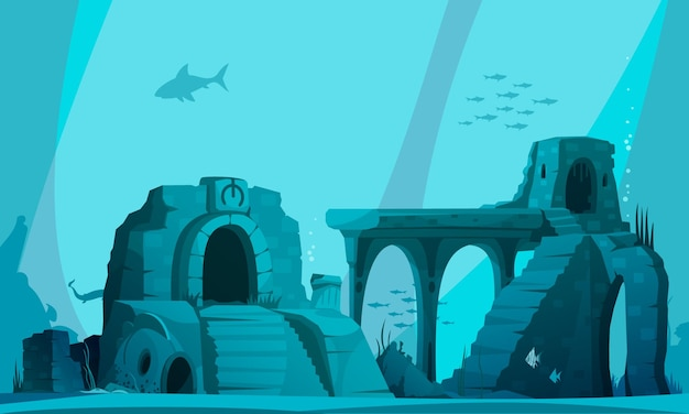 Underwater landscape with ancient ruins of flooded atlantis in beams of light cartoon illustration