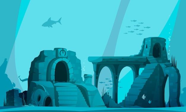 Подводный пейзаж с древними руинами затопленной атлантиды в лучах света карикатура