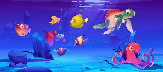 Underwater landscape with sea life animals