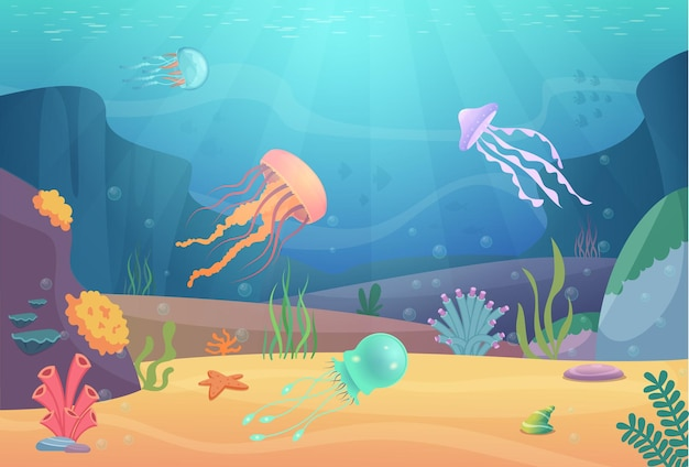 Подводная жизнь. океанский пейзаж с рыбами и красивыми медузами, аквариум, естественные животные, векторный мультяшный фон. морская жизнь под водой с медузами и животными