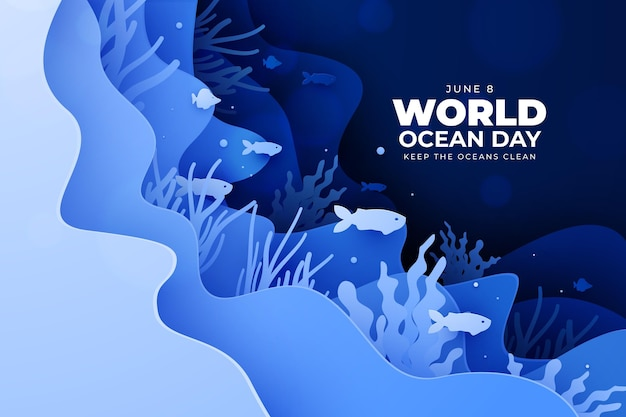 Underwater life paper style world ocean day