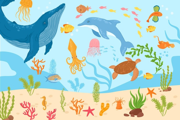 Underwater marine life vector illustration tropical sea fish dolphin octopus swim at coral nature oc...