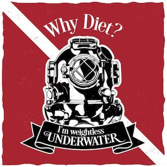 Подводная мотивация этикетки дизайн плаката с вопросом, почему диета