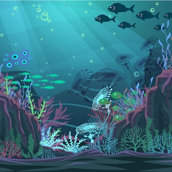 Подводный фон природы. векторная иллюстрация