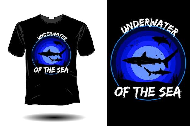 바다 모형 복고풍 빈티지 디자인의 수중