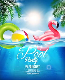 Underwater pool party illustration