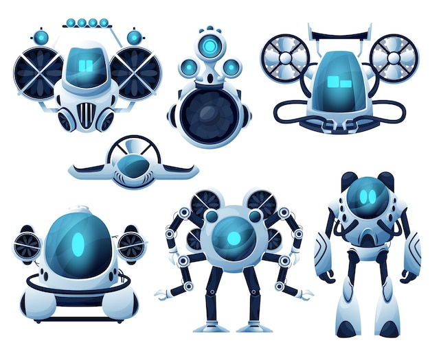 Underwater robot and rov cartoon characters