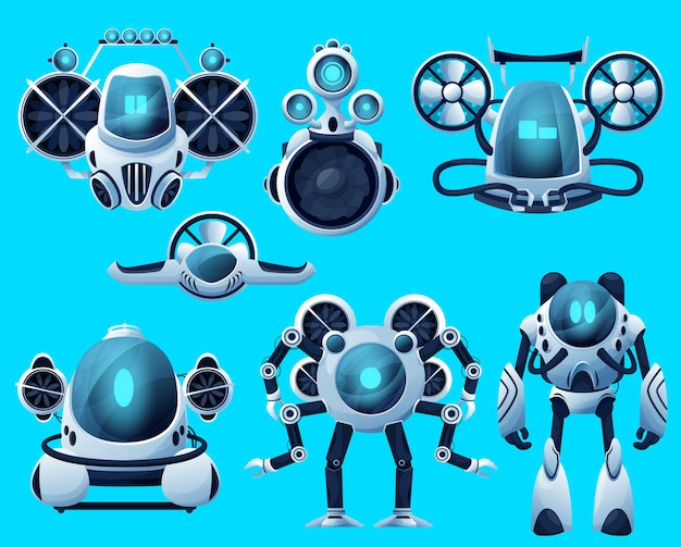 Underwater robots, submarine sea drone, ocean rov deep water vehicles