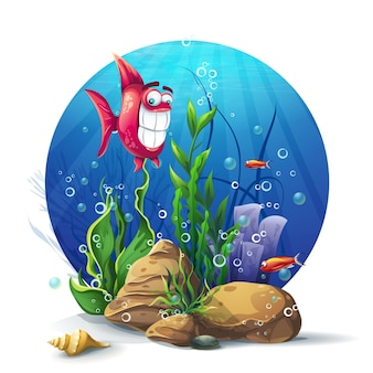 해초와 물고기 재미와 함께 수중 바위
